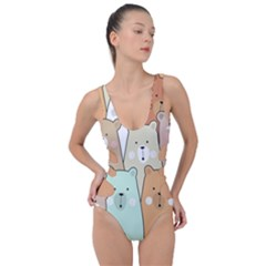 Colorful-baby-bear-cartoon-seamless-pattern Side Cut Out Swimsuit by Sobalvarro