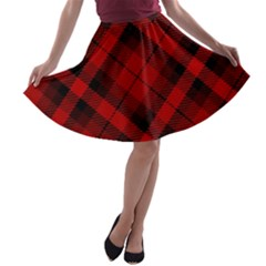 Red And Black Plaid Stripes A-line Skater Skirt