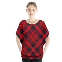 Red And Black Plaid Stripes Batwing Chiffon Blouse