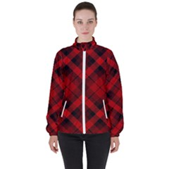 Red And Black Plaid Stripes Women s High Neck Windbreaker