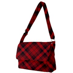 Red And Black Plaid Stripes Full Print Messenger Bag (l)