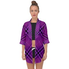 Purple And Black Plaid Open Front Chiffon Kimono by SpinnyChairDesigns