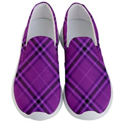 Purple And Black Plaid Men s Lightweight Slip Ons