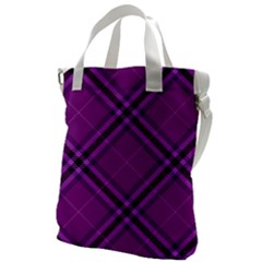 Purple And Black Plaid Canvas Messenger Bag by SpinnyChairDesigns