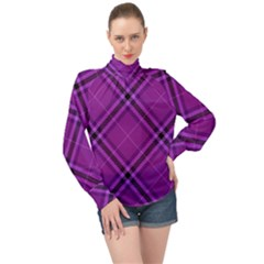 Purple And Black Plaid High Neck Long Sleeve Chiffon Top by SpinnyChairDesigns