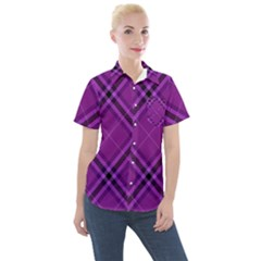 Purple And Black Plaid Women s Short Sleeve Pocket Shirt