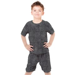Matte Charcoal Black Color  Kids  Tee And Shorts Set by SpinnyChairDesigns