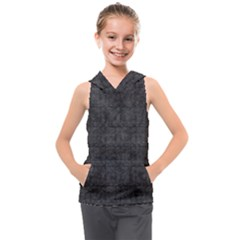 Matte Charcoal Black Color  Kids  Sleeveless Hoodie by SpinnyChairDesigns