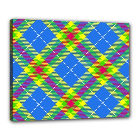 Clown Costume Plaid Striped Canvas 20  X 16  (stretched) by SpinnyChairDesigns