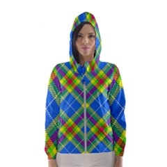 Clown Costume Plaid Striped Women s Hooded Windbreaker by SpinnyChairDesigns