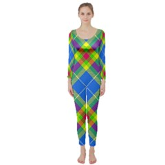 Clown Costume Plaid Striped Long Sleeve Catsuit by SpinnyChairDesigns