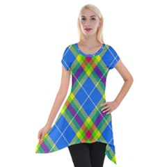 Clown Costume Plaid Striped Short Sleeve Side Drop Tunic by SpinnyChairDesigns