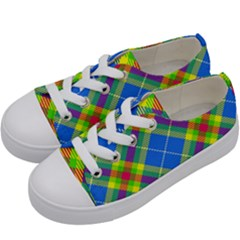 Clown Costume Plaid Striped Kids  Low Top Canvas Sneakers by SpinnyChairDesigns