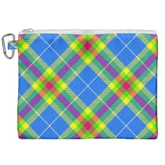 Clown Costume Plaid Striped Canvas Cosmetic Bag (xxl) by SpinnyChairDesigns