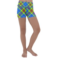 Clown Costume Plaid Striped Kids  Lightweight Velour Yoga Shorts