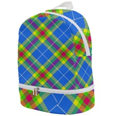Clown Costume Plaid Striped Zip Bottom Backpack by SpinnyChairDesigns