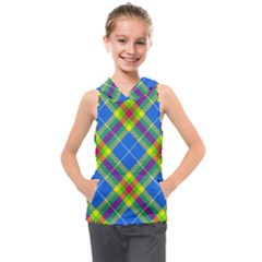 Clown Costume Plaid Striped Kids  Sleeveless Hoodie by SpinnyChairDesigns