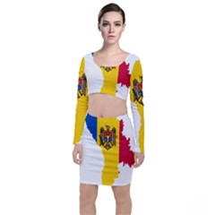 Flag Map Of Moldova Top And Skirt Sets
