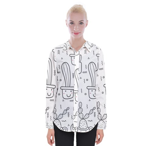 Cactus Womens Long Sleeve Shirt by Sobalvarro