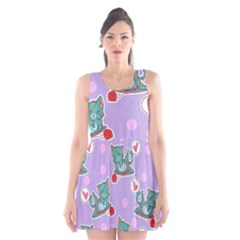 Playing Cats Scoop Neck Skater Dress