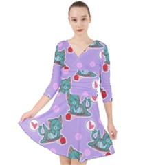Playing Cats Quarter Sleeve Front Wrap Dress