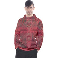 Indian Red Color Geometric Diamonds Men s Pullover Hoodie