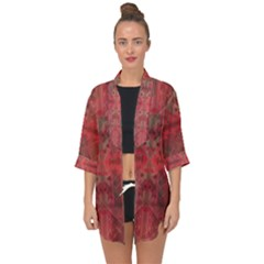 Indian Red Color Geometric Diamonds Open Front Chiffon Kimono by SpinnyChairDesigns