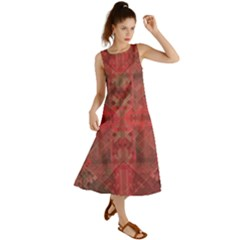 Indian Red Color Geometric Diamonds Summer Maxi Dress