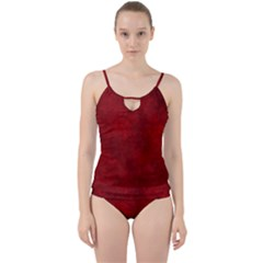 Scarlet Red Velvet Color Faux Texture Cut Out Top Tankini Set