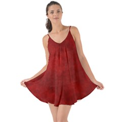 Scarlet Red Velvet Color Faux Texture Love The Sun Cover Up
