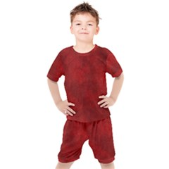 Scarlet Red Velvet Color Faux Texture Kids  Tee And Shorts Set by SpinnyChairDesigns