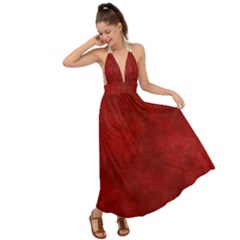 Scarlet Red Velvet Color Faux Texture Backless Maxi Beach Dress