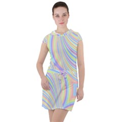 Pastel Color Stripes  Drawstring Hooded Dress by SpinnyChairDesigns