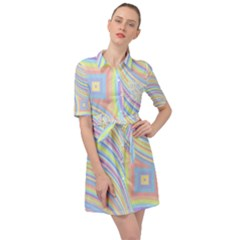 Pastel Color Stripes  Belted Shirt Dress