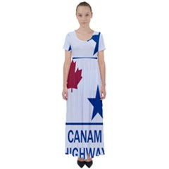 Canam Highway Shield  High Waist Short Sleeve Maxi Dress
