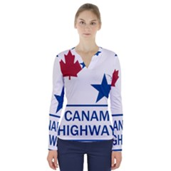 Canam Highway Shield  V-neck Long Sleeve Top