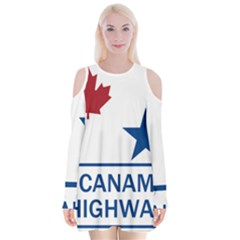 Canam Highway Shield  Velvet Long Sleeve Shoulder Cutout Dress