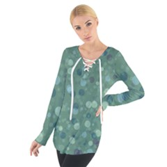 Green Color Polka Dots Pattern Tie Up Tee by SpinnyChairDesigns