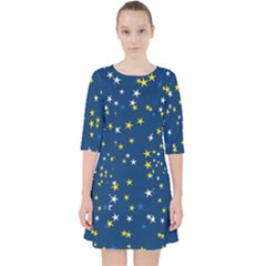 White Yellow Stars On Blue Color Pocket Dress by SpinnyChairDesigns