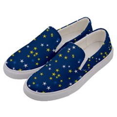 White Yellow Stars On Blue Color Men s Canvas Slip Ons by SpinnyChairDesigns