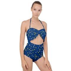 White Yellow Stars On Blue Color Scallop Top Cut Out Swimsuit by SpinnyChairDesigns