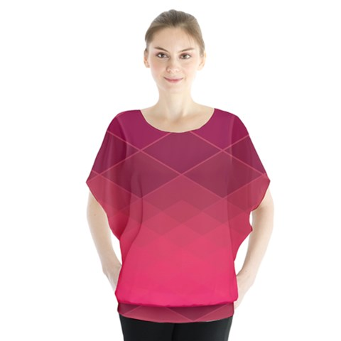 Hot Pink And Wine Color Diamonds Batwing Chiffon Blouse by SpinnyChairDesigns