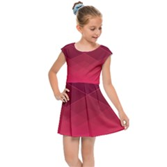 Hot Pink And Wine Color Diamonds Kids  Cap Sleeve Dress