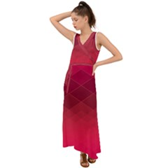 Hot Pink And Wine Color Diamonds V-neck Chiffon Maxi Dress by SpinnyChairDesigns