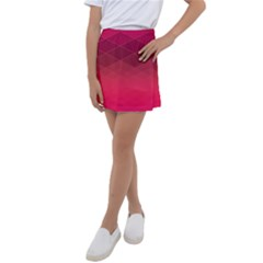 Hot Pink And Wine Color Diamonds Kids  Tennis Skirt by SpinnyChairDesigns