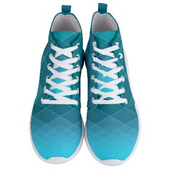 Aqua Blue And Teal Color Diamonds Men s Lightweight High Top Sneakers
