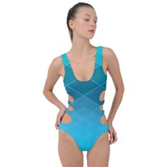 Aqua Blue And Teal Color Diamonds Side Cut Out Swimsuit by SpinnyChairDesigns