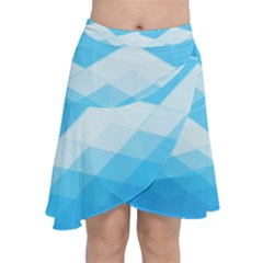 Light Blue And White Color Diamonds Chiffon Wrap Front Skirt