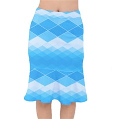 Light Blue And White Color Diamonds Short Mermaid Skirt by SpinnyChairDesigns