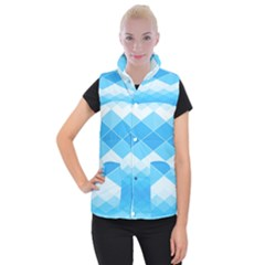 Light Blue And White Color Diamonds Women s Button Up Vest